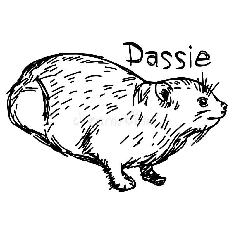 Dassie或岩石非洲蹄兔-导航例证剪影手拉的机智 库存例证