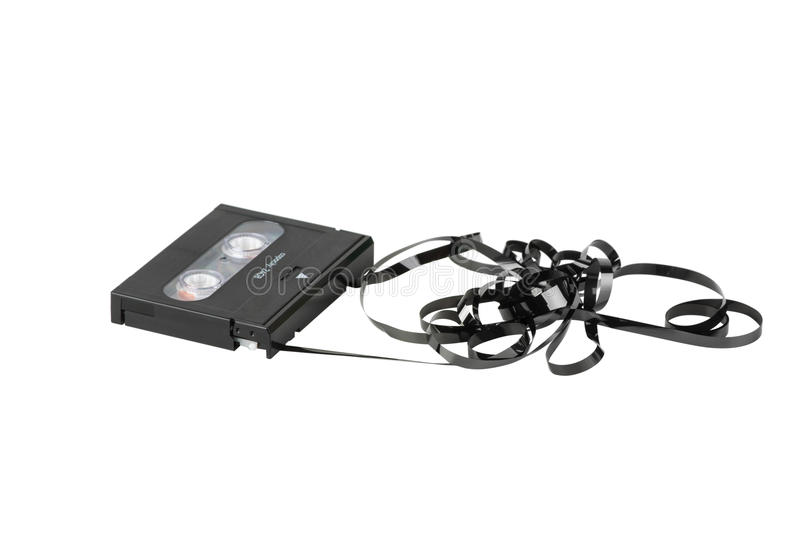 DAT cassette with tangled and twisted tape royalty free stock photos