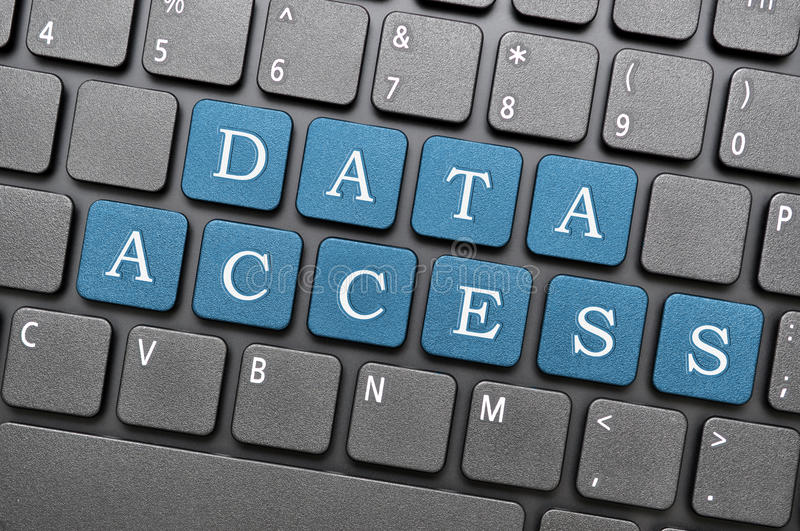 Data access. Blue data access key on laptop royalty free illustration