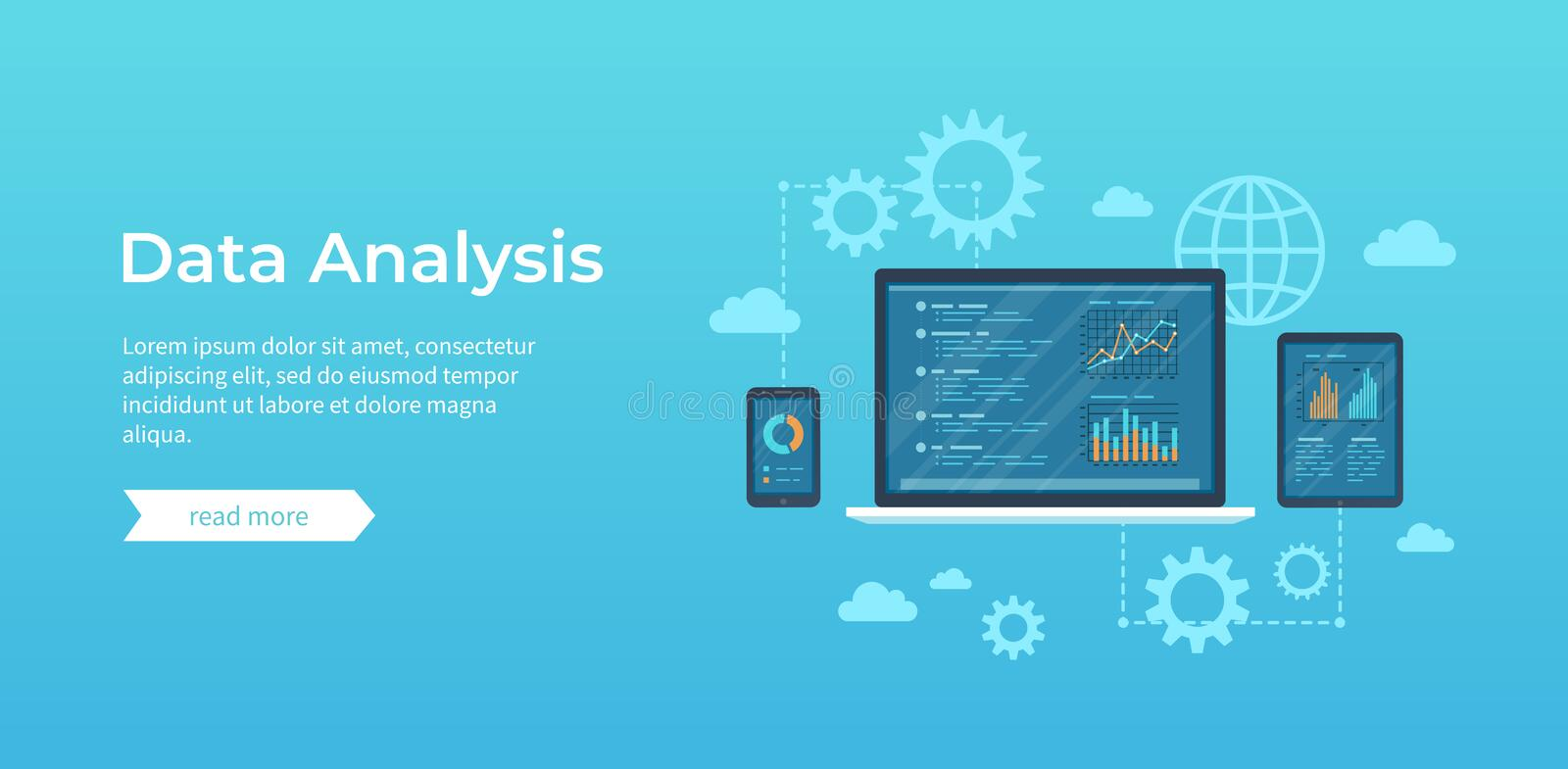Data analysis. Analytics, statistics, audit, research, report. Web online and mobile service. Financial reports, charts graphs royalty free illustration