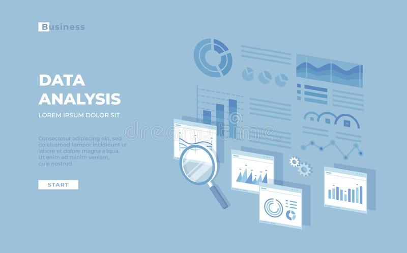 Data analysis, audit, research, finance analytics, reporting concept. Web and mobile service. Charts, graphs, report Visualization royalty free illustration