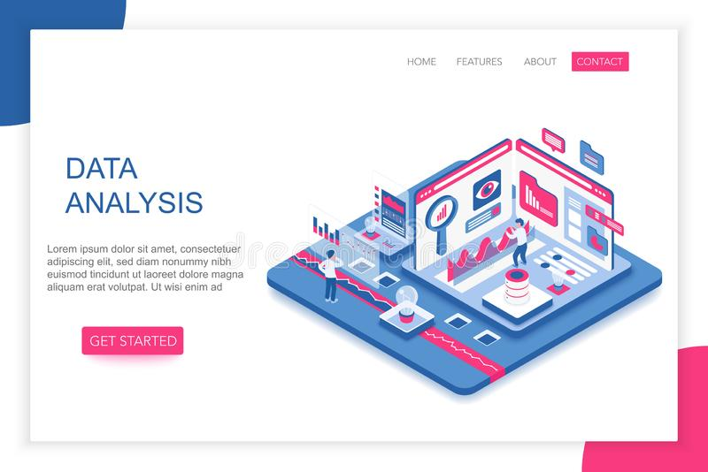 Data Analysis, big data analytics modern 3d isometric vector website landing page template. People interacting with stock illustration