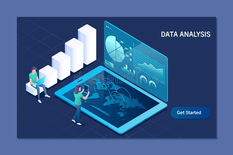Data analysis. Business, Technology, Internet and network concept. Data analysis concep. Business, Technology, Internet and network concept stock illustration