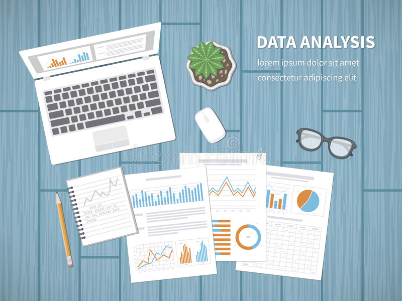 Data analysis concept. Accounting, analytics, analysis, report, research, planning. Financial Audit, SEO analytics, statistics vector illustration