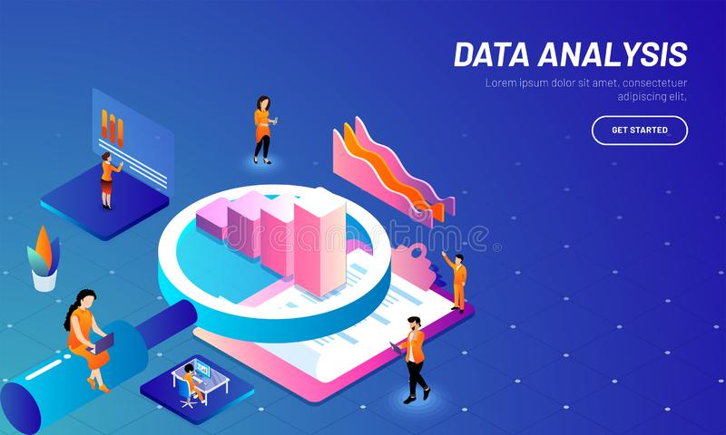 Data analysis concept based web template design with 3D illustration of magnifying glass, bar graph, clipboard and business. Analytics analysis the stats royalty free illustration