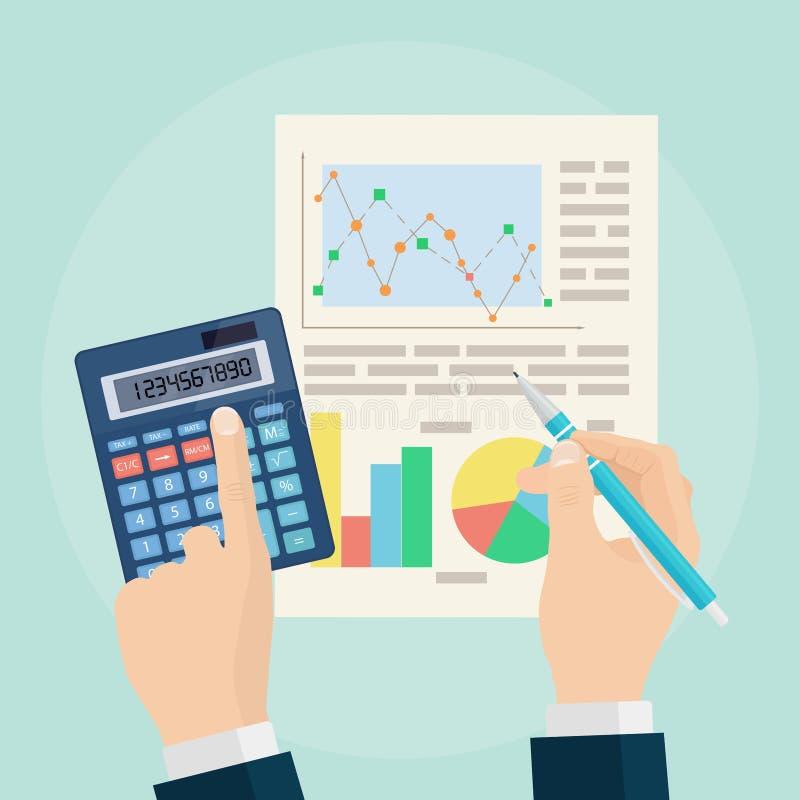 Data analysis concept. Business analytics. Financial audit, plan vector illustration