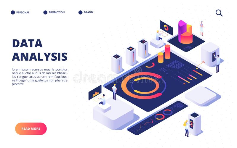 Data analysis concept. Business team build digital infographic with dashboard, charts and diagrams. Landing page vector. Design. Illustration of data analysis stock illustration