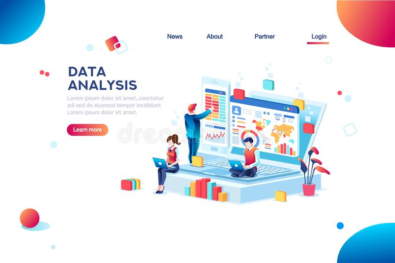 Data Analysis Infographic for Banner royalty free illustration