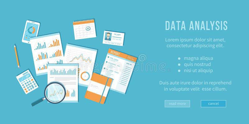 Data analysis concept. Financial Audit, analytics, statistics, strategic, report, management. Magnifying glass over documents. With graphs, notebook, calculator vector illustration