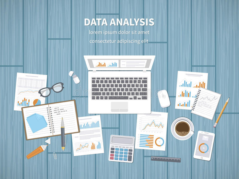 Data analysis concept. Financial Audit, SEO analytics, statistics, strategic, report, management. Charts, graphics on a screen stock illustration