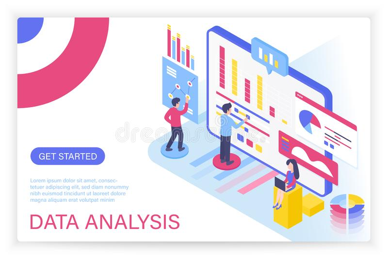 Data analysis process, big data concept isometric illustration for internet website. Landing page modern template with royalty free illustration
