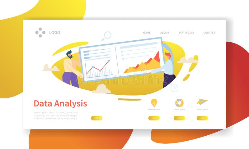Data Analysis Concept Landing Page. Flat People Characters Building Dashboard Graph Website Template. Easy Edit. And Customize. Vector illustration stock illustration