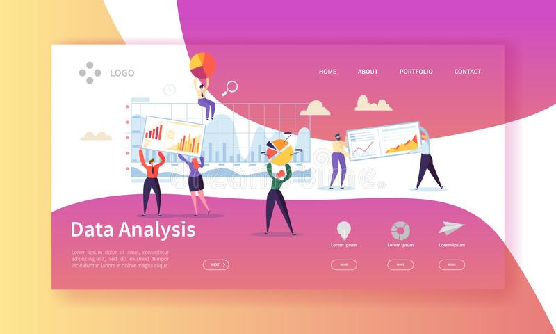 Data Analysis Concept Landing Page. Flat People Characters Building Dashboard Graph Website Template. Easy Edit vector illustration