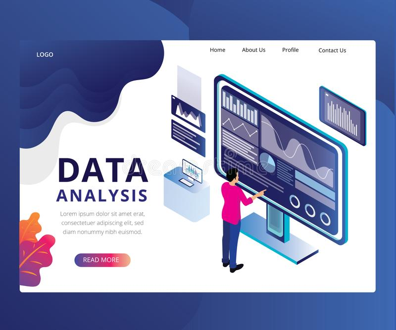 Data Analysis & Decision Marketing Strategy Vector Isometric Design. Data Analysis & Decision Marketing Strategy Isometric Design royalty free illustration