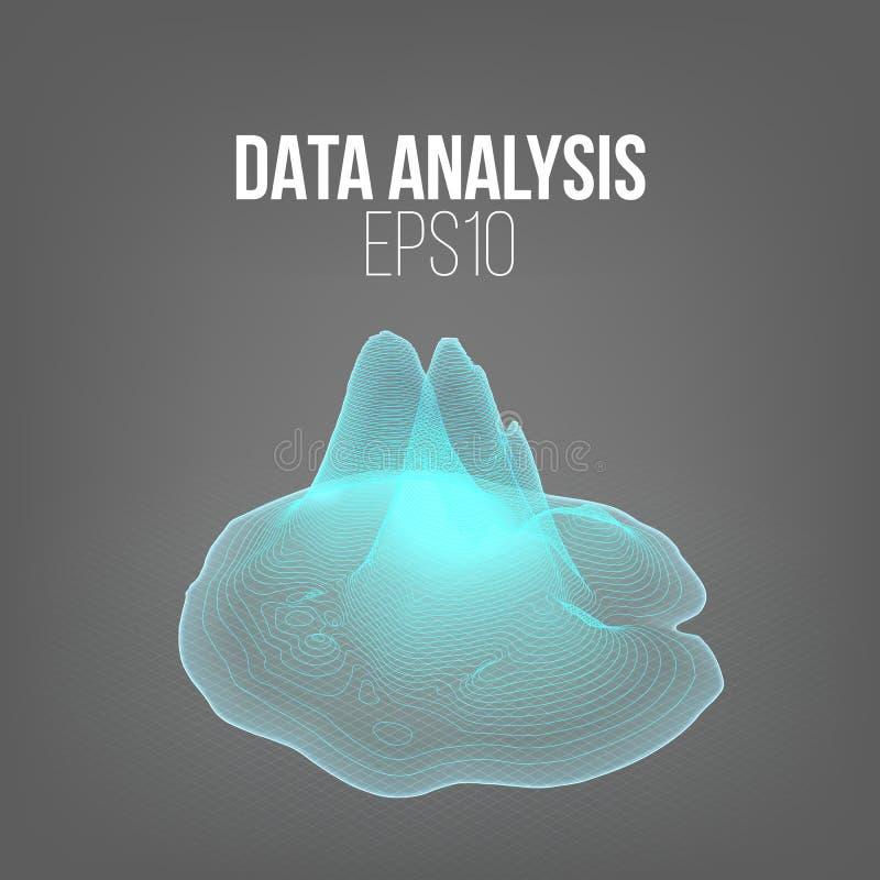 Data analysis diagramm. 3d vector land hologram. Futuristic infographic. Illustration vector illustration