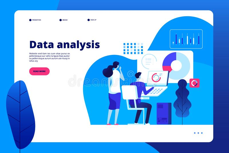 Data analysis. Digital interactive office business marketing processing professional personal analyst with laptop vector stock illustration