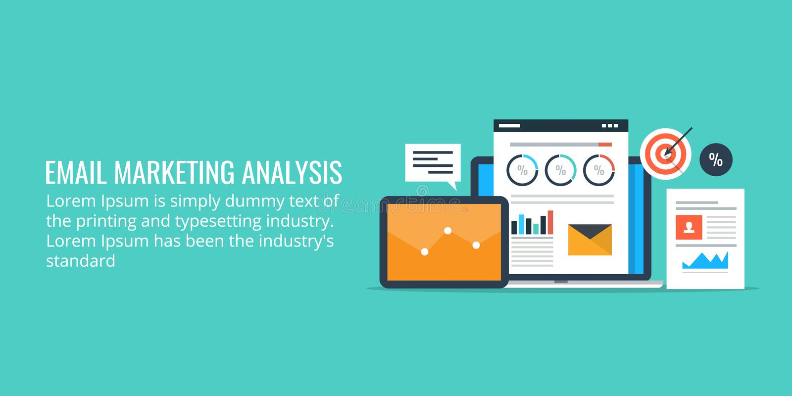 Data analysis of an email marketing campaign - email marketing analytics. Flat design marketing banner. royalty free illustration
