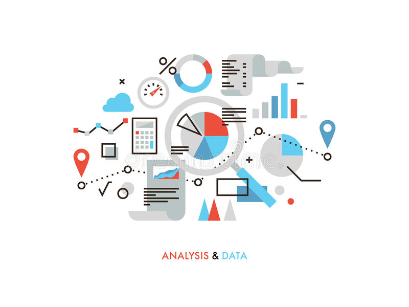 Data analysis flat line illustration. Thin line flat design of business graph statistics, big data analysis, global seo analytics, financial research report