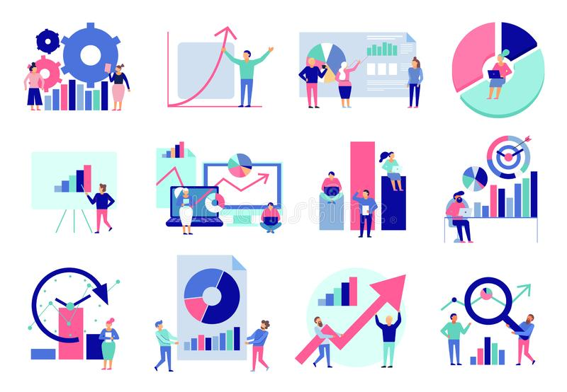 Data Analysis Flat Set royalty free illustration