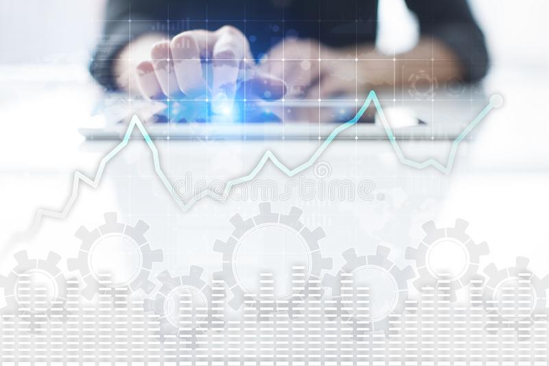 Data analysis graph on virtual screen. Business finance and technology concept. Data analysis graph on virtual screen. Business finance and technology concept stock image