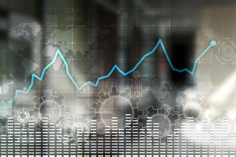Data analysis graph on virtual screen. Business finance and technology concept. royalty free illustration