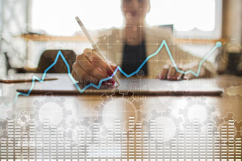 Data analysis graph on virtual screen. Business finance and technology concept. stock illustration