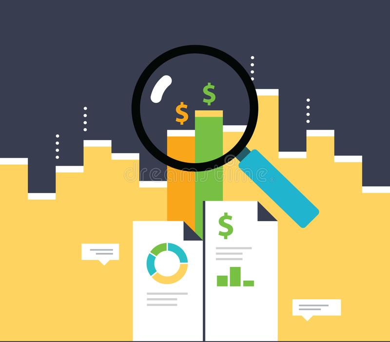 Data Analysis. Growing graph for smart investment. Analytics information. vector illustration