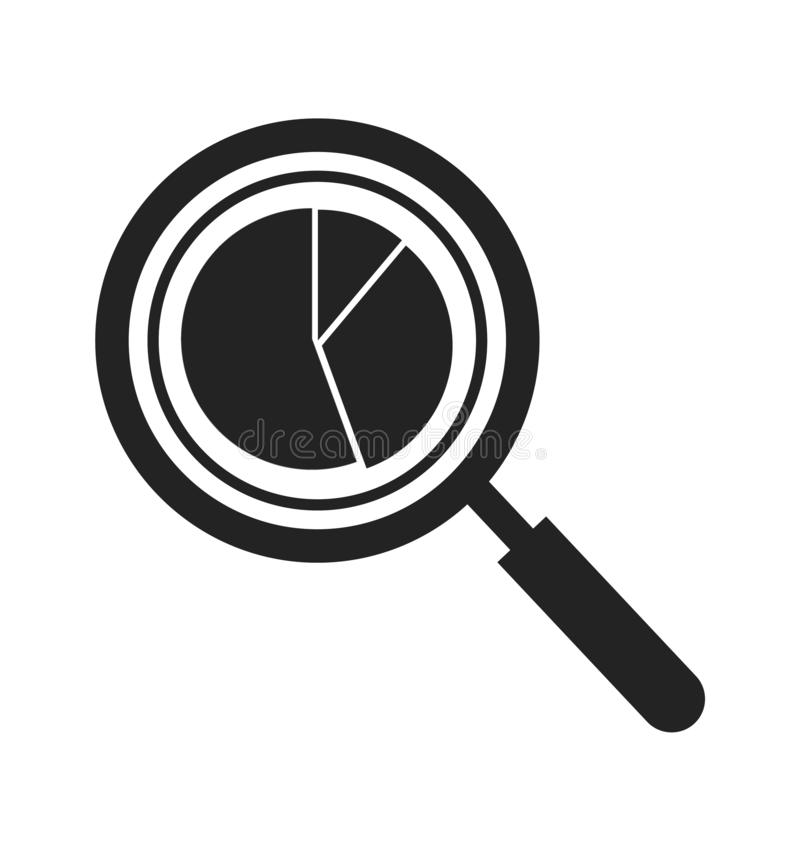 Data analysis icon with magnifying glass and pie chart symbol. Flat style vector EPS stock illustration