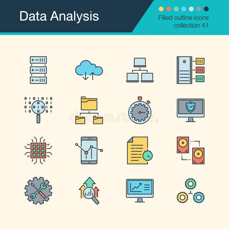 Data Analysis icons. Filled outline design collection41. For presentation, graphic design, mobile application, web vector illustration