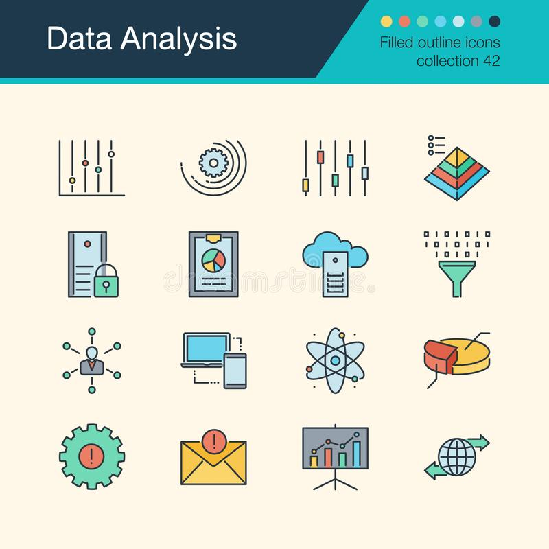 Data Analysis icons. Filled outline design collection42. For presentation, graphic design, mobile application, web vector illustration