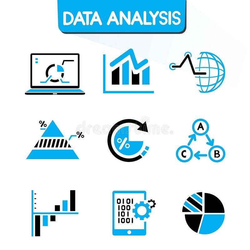Data analysis icons. Set of 16 data analysis icons in black and blue theme vector illustration