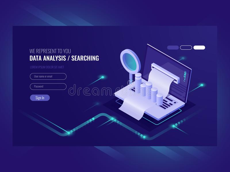 Data analysis, infromation serchning, data center query, search engine optimisation, concept site position result royalty free illustration