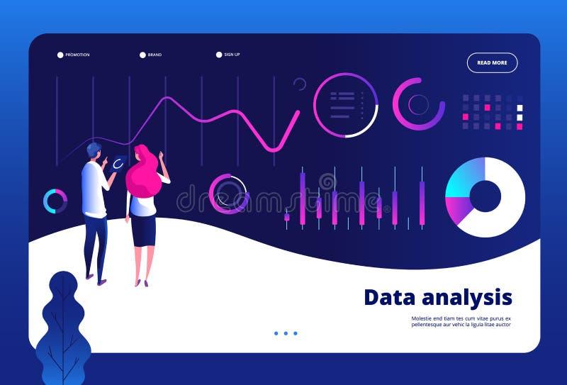 Data analysis landing. Big data digital center interactive statistics engine office marketing professional analyst royalty free illustration