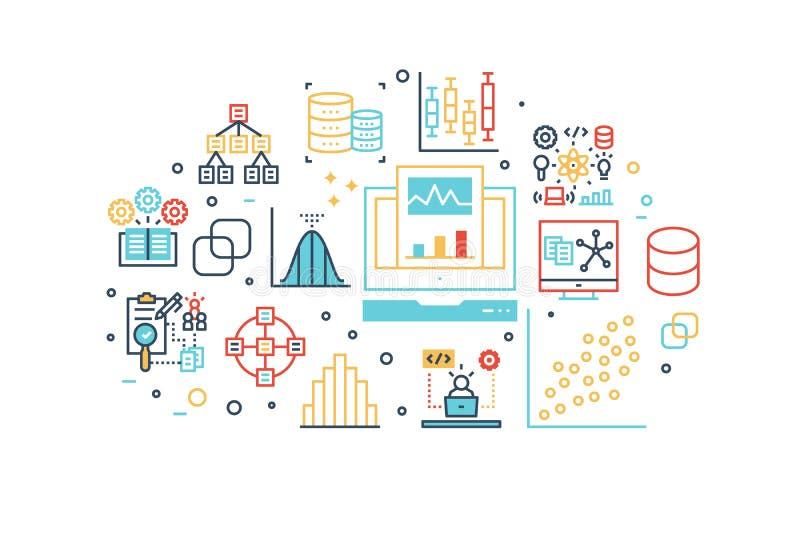 Data analysis line icons illustration vector illustration