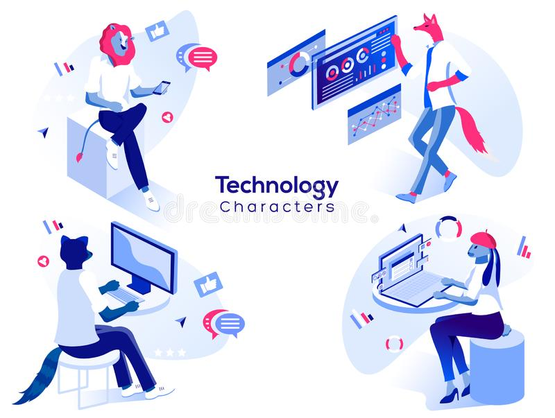 Data analysis and office situations. 3D Isometric illustration set. Vector people work and interacting with graphs, icons and devices. Mobile application and vector illustration