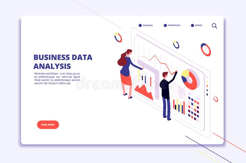 Data analysis. People work on business finance charts. Statistical surveillance. Big data isometric vector concept. Illustration of business data analysis 3d vector illustration