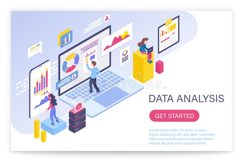 Data analysis process, big data concept 3d isometric vector illustration. People interacting with virtual screen charts royalty free illustration