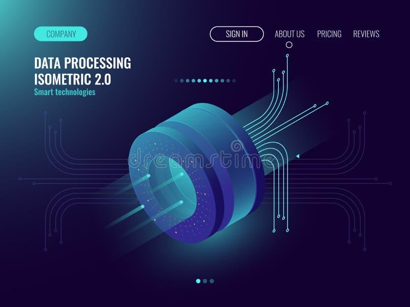 Data analysis processing big data computing, information flow,digital science lab, data center server room concept dark stock illustration