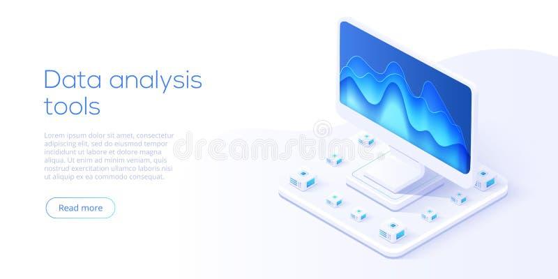 Data analysis server isometric vector illustration. Abstract 3d. Datacenter or data center room background. Network mainframe infrastructure website header royalty free illustration