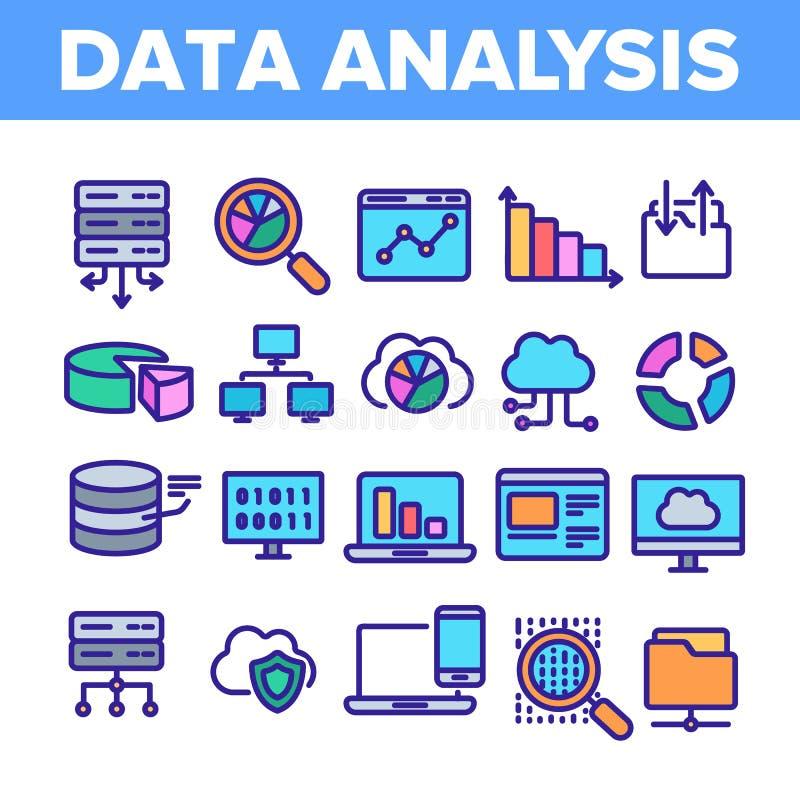 Data Analysis, Web Storage Linear Vector Icons Set stock illustration