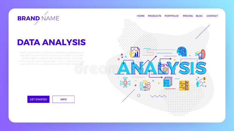Data analysis web template. Data analysis concept vector illustration in modern flat design for landing page, website template, mobile app, etc stock illustration