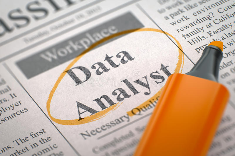 Data Analyst Hiring Now. 3D. Data Analyst - Vacancy in Newspaper, Circled with a Orange Highlighter. Blurred Image. Selective focus. Hiring Concept. 3D royalty free stock images