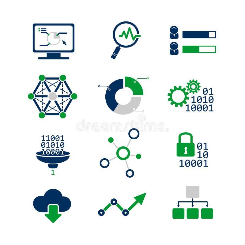 Data analytic icons set vector illustration