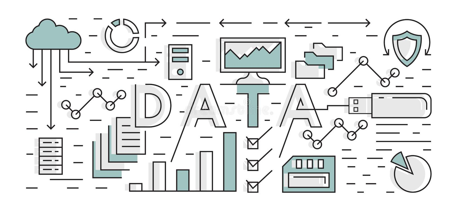 Data And Analytic Illustration. Technology Background. Flat Line Design Geometric With Blue Color. Flat Line Design Geometric With Blue Color. Data And Analytic stock illustration