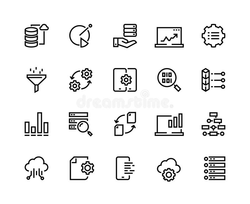Data analytic line icons. Business technology process digital gear support information network tech. Big data analytics stock illustration