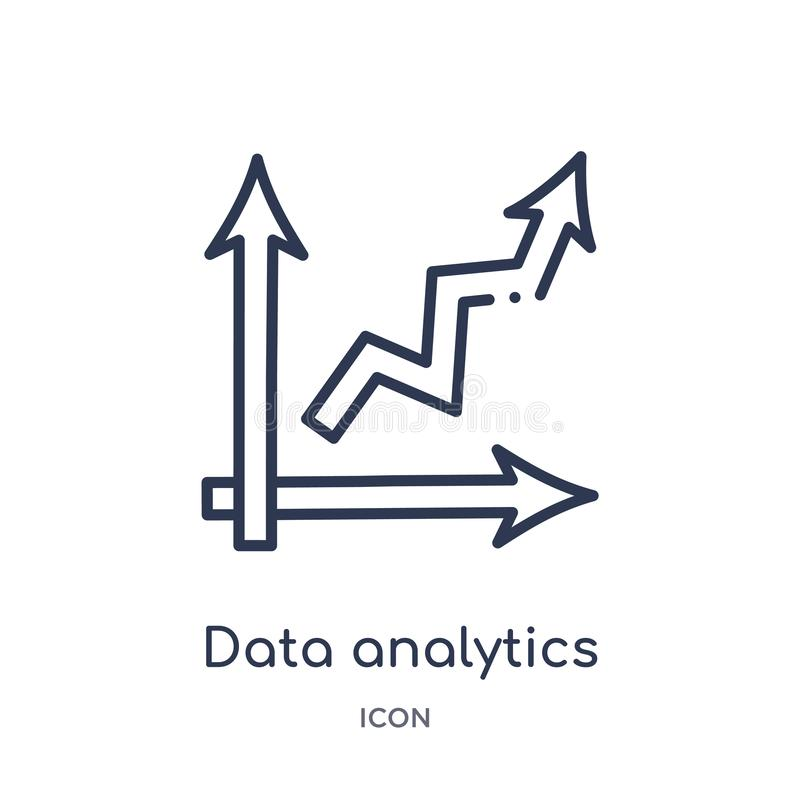 Data analytics ascending icon from user interface outline collection. Thin line data analytics ascending icon isolated on white. Background vector illustration