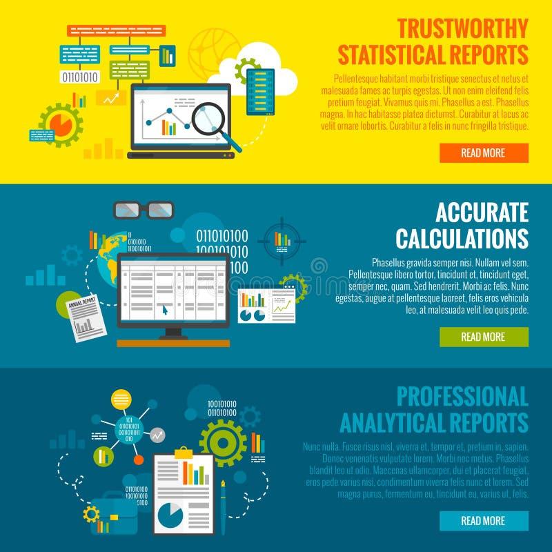 Data Analytics Banner Set. Data analytics horizontal banner set with statistics reports and calculations flat elements vector illustration royalty free illustration