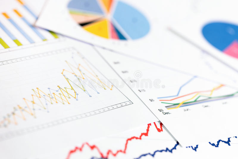 Data analytics - business graphs and charts stock photo