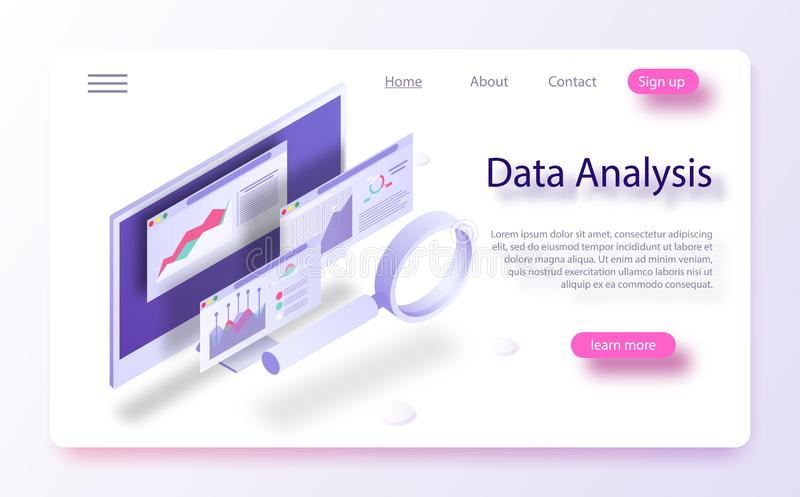 Data analytics concept banner. The report on the computer, program of statistics and analytics stock illustration