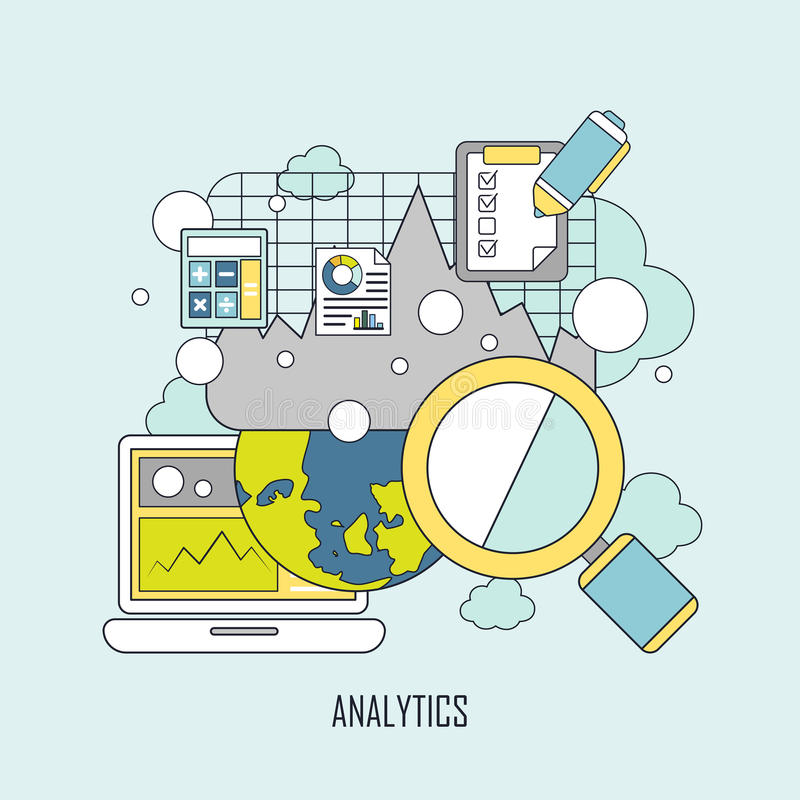 Data analytics concept in thin line style. Website data analytics concept in thin line style royalty free illustration
